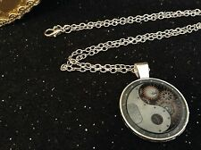Silver Tone Necklace Yin Yang Steam-punk Silver Tone Cabochon Pendant