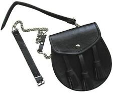 SCOTTISH Celtic HIGHLANDER Black Cowhid Leather SPORRAN KILT BAG with Chain Belt