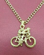 Bike Necklace racing New gold plated bicycle riding rider jewellery