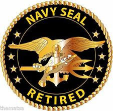 NAVY SEAL RETIRED OFFICER GOLD TRIDENT HELMET BUMPER STICKER DECAL MADE IN USA