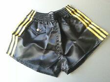 BLACK nylon rugby soccer SATIN shorts XS glanz shiny 80'S retro vintage new NOVO