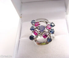 NATURAL ALEXANDRITE with  BLUE SAPPHIRES and RUBIES 14K WHITE GOLD RING