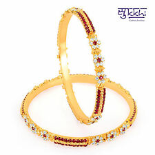 Sukkhi Gold Plated Color Stone Bangles - 1140VB1100
