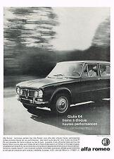 PUBLICITE ADVERTISING  1963    ALFA ROMEO    la GUILIA 64