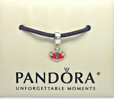 Pandora Red Heart & Crown Dangle Charm Sterling Silver & 14k Gold #790434EN09