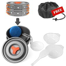 Outdoor Camping Pots and Pans Set Cookware Mess Kit 9 Piece With Oxford Bag