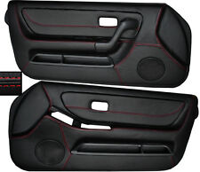 RED STITCH 2X FRONT FULL DOOR CARD SKIN COVERS FITS NISSAN SKYLINE R33 93-98