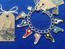 Converse Baseball Silver Charm Bracelet with matching Earrings OUT OF STOCK