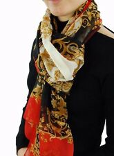 VERSACE 100% Silk Chiffon Scarf Wrap Genuine Made in Italy Black Red RRP£300+