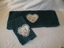 Vintage Cannon Towels Stitched Lace Hearts Dark Green Bath Hand