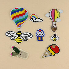 Set Of 8Pcs Embroidery Bee Ice Cream Sew Iron On Patch Badge Bag Fabric Applique
