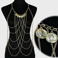GLAM Statement Celeb Gold Faux Coin Vest Necklace Body Chain By Rocks Boutique