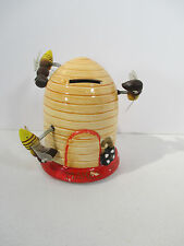 Beehive Coin Bank Bobble Bees on Springs Ceramic Vintage Japan Money Makes Honey