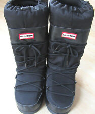 HUNTER LADIES BLACK CHATAL GLOSS SKI MOON SNOW BOOTS UK SIZE 6-7 NEW