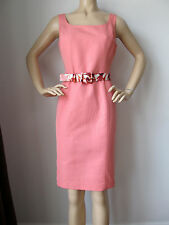 NEW ST JOHN KNIT 16 SHEATH DRESS WATERMELON ORANGE PEACH MULTICOLOR BELT