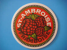 Beer Bar Coaster ~ McAuslan Brewing St Ambroise Framboise Ale ~*~ Quebec, Canada