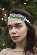 Pink Turquoise Gold Beaded Headpiece Vintage 1920s Headband Great Gatsby 30s U11