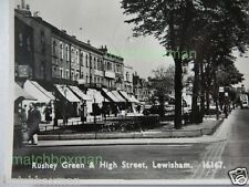 RUSHEY GREEN + HIGH STREET LEWISHAM REAL-PHOTO POSTCARD LONDON TRAM INTEREST 24