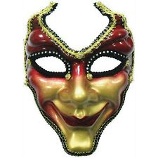 Red & Gold Full Face Mask - Fancy Dress Masquerade Ball Venice Venetian