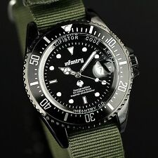 INFANTRY Mens Quartz Wrist Watch Lume Dial Date Sport Army Tactical Nylon Fabric