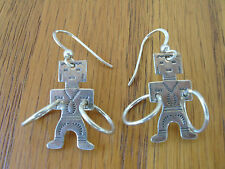 Kachina Hoop Figure Sterling Silver Southwest Trading Post Pierced Earrings