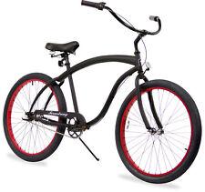 """26"""" Beach Cruiser Bicycle Firmstrong Bruiser Men3 spd matt black w Red rims"""