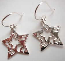 Star with Ethnic Cutout Markings Dangle Earrings 925 Sterling Silver Corona Sun