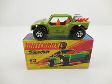 Matchbox Superfast 13 Baja Buggy Green Red Pipes Mint in H Box MIB