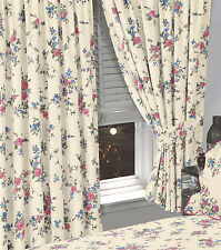 "FLORAL 66"" x 72"" READY MADE PENCIL PLEAT CURTAINS CREAM BLUE PINK ROSE FLOWERS"