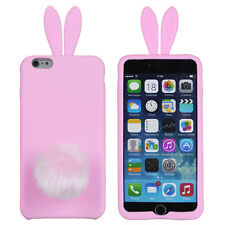 Cute Rabbit Ears Fluffy Tail Suction Holder Case Cover For IPhone 6 6S PINK