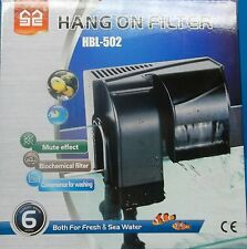 FILTER 500L/h 135G/h HANG ON FRESH OR SALT WATER AQUARIUM ADJ FLOW up to 45 ga