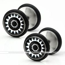 Mens Stainless Steel Lotus Fake Cheater Tunnels Plugs Barbell Ear Studs Earrings