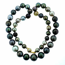 MULTI COLOR TAHITIAN  PEARL STRAND NECKLACE 14K YELLOW GOLD CLASP DIAMOND