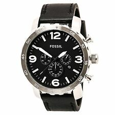Fossil JR1436 Men's Nate Chrono Black Dial Black Leather Strap Watch Watch