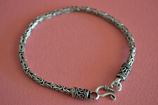 "925 Sterling Silver Men's Braided Snake Chain Bracelet - 8"" Men Bracelet 12.7gr"