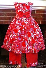 CUSTOM BOUTIQUE 4T 4 5 3Pc Queen Hearts Party Hair Bow Pageant Dress Pants Set