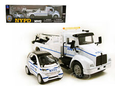 NYPD WRECKER TOW TRUCK & SMART FOR TWO CAR SET 1/43 DIECAST MODEL  NEW RAY 15735