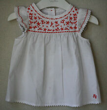 TARTINE ET CHOCOLAT WHITE CORAL EMBROIDERED BABY TOP 2 YEARS