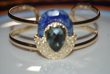 STONY LARGE BOLD RUNWAY BLUE NATURAL STONE ON GOLD TONED METAL CUFF BRACELET