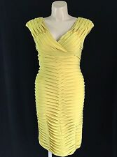 Adrianna Papell size 12 Large dress mustard yellow stretch empire tier layer LN