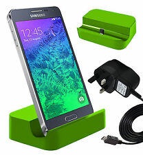 Green Micro USB Desktop Charging Dock & Mains Charger For Samsung Galaxy S5 Neo