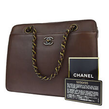Authentic CHANEL CC Logos Chain Hand Bag Leather Brown France Vintage 89U548