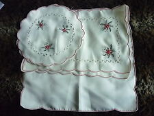 CHRISTMAS CENTRE PIECE CLOTHS EMBROIDERED TABLE TRAY  PLACEMATS PEGGY WILKINS