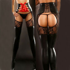 Hot Womens Sexy PVC Faux Leather & Lace Bondage Thigh High Stockings Lingerie