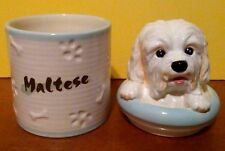 MALTESE Porcelain Dog Treat Cookie Jar Ceramic Figurine Quality Made By DNC