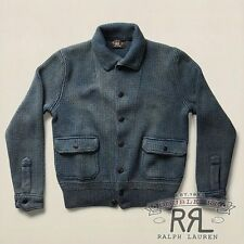 $695 RRL Ralph Lauren Vintage Faded Indigo Sweater Cardigan Jacket-MEN- XXL