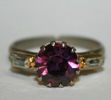 Beautiful Purple & Clear Rhinestone Cocktail Ring Costume Jewelry Adjustable