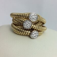6 ROWS TESSITORE 18K YELLOW AND WHITE GOLD PAVE DIAMOND TUBOGAS FLEXIBLE RING