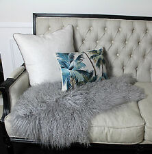 GREY GENUINE MONGOLIAN SHEEPSKIN HIDE PELT LONG HAIR WOOL SHEEP SKIN RUG THROW