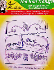 Aunt Martha's Hot Iron Transfers # 3742  His-Hers Flowers Butterfly